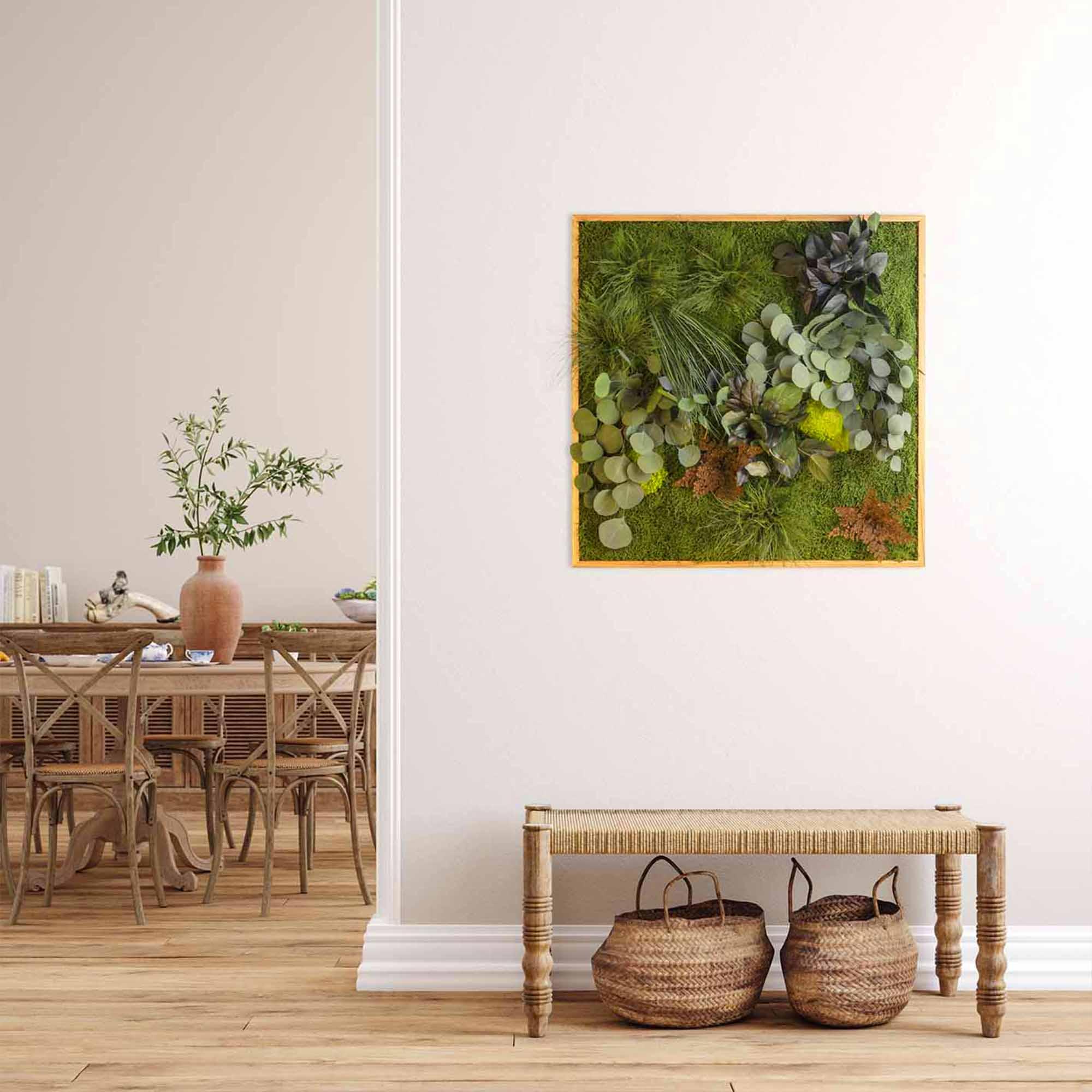 Dschungelmoosbild Eckig mit Esstisch und Sitzgruppe
