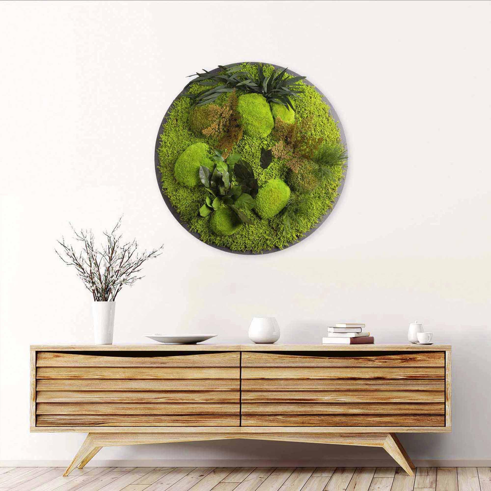 Dschungelmoos Bild Rund in Apfelgrün mit Sideboard