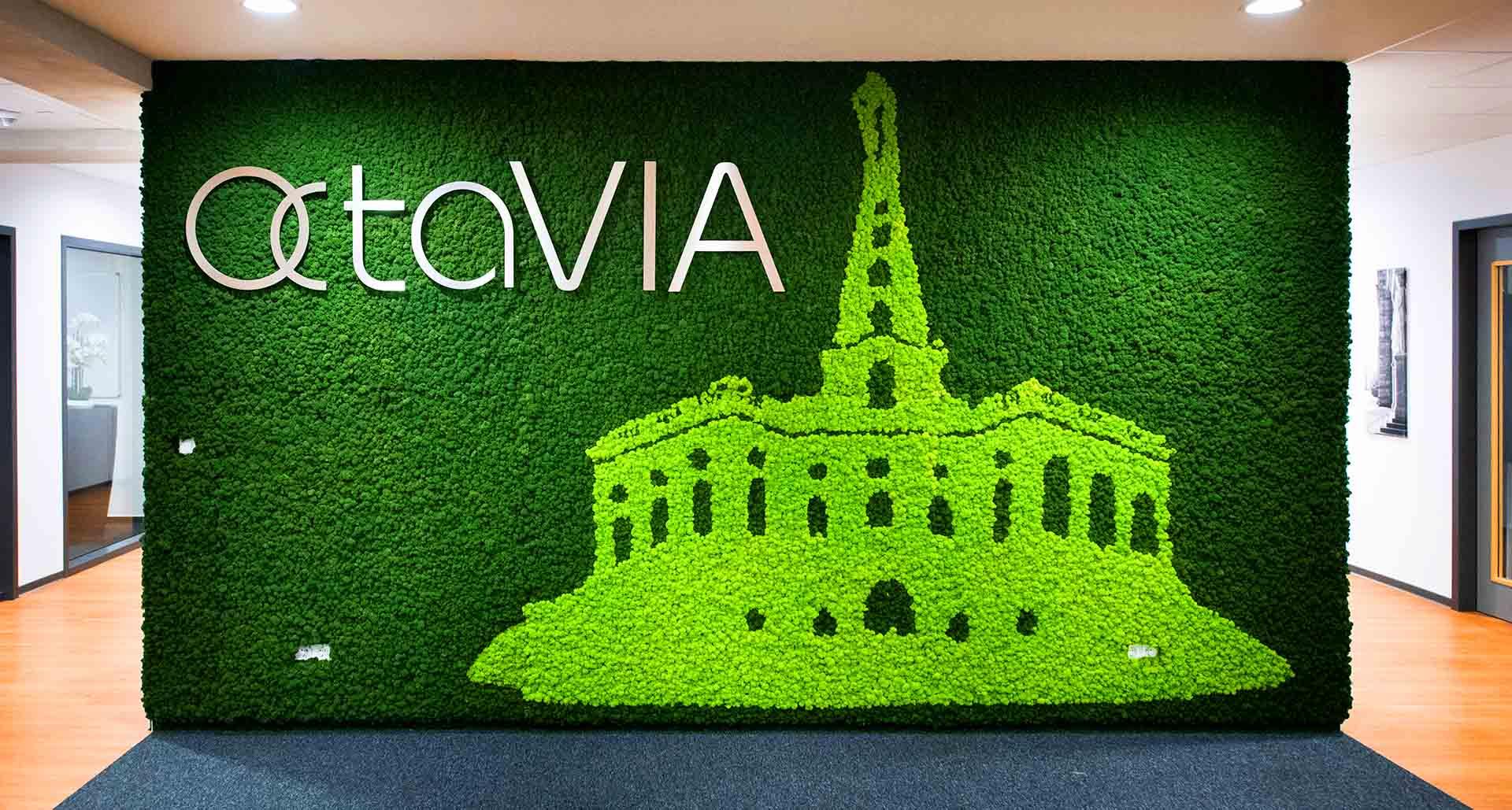 Mooswand aus Islandmoos mit Logo Octavia