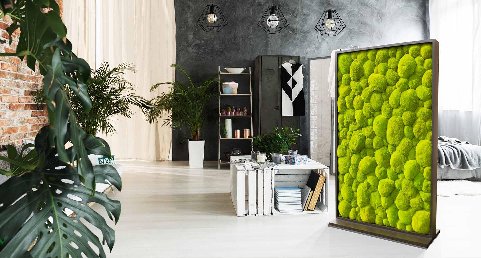 Mobiler Raumteiler aus Ballenmoos Schlafzimmer