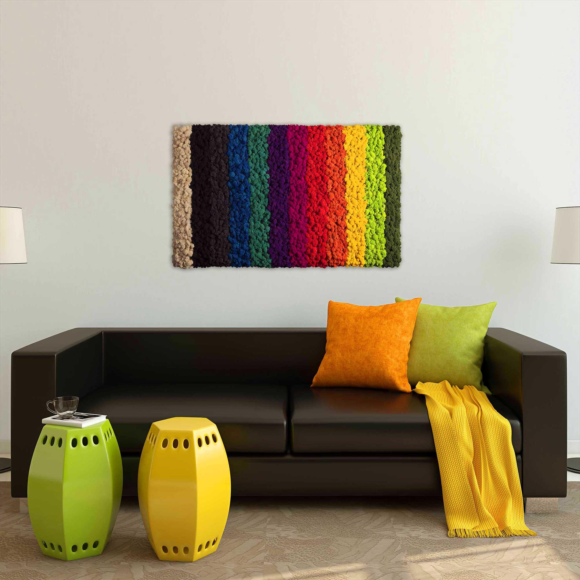 Islandmoos in Regenbogenfarben über schwarzer Ledercouch