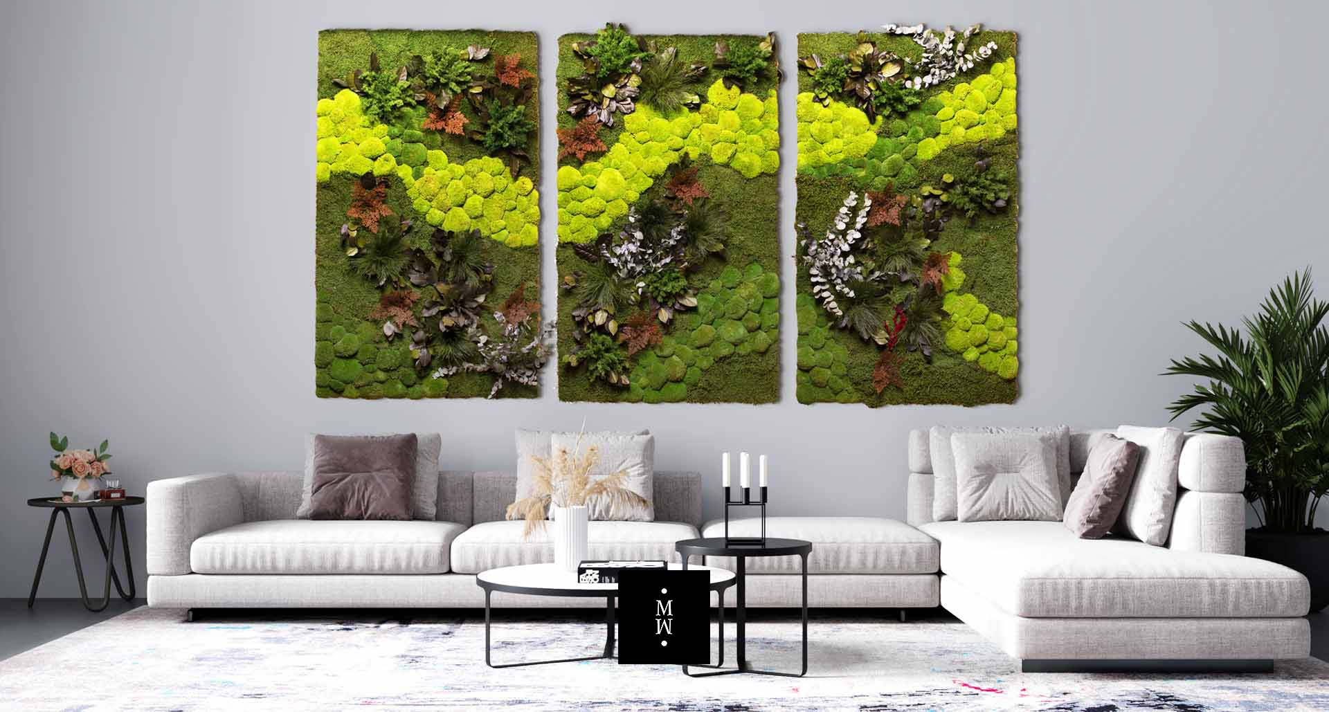 Moosbild 3er Kombination Central Park Waldmoos Ballenmoos Pflanzenelemente