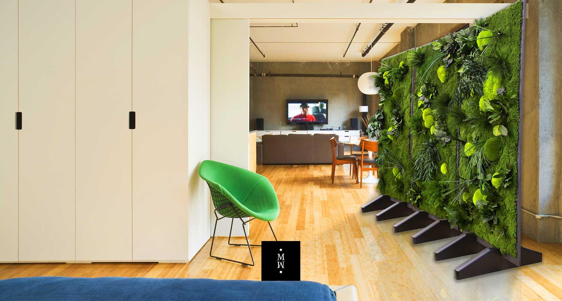 Große mobile  Raumteile mit Dschungelmoos