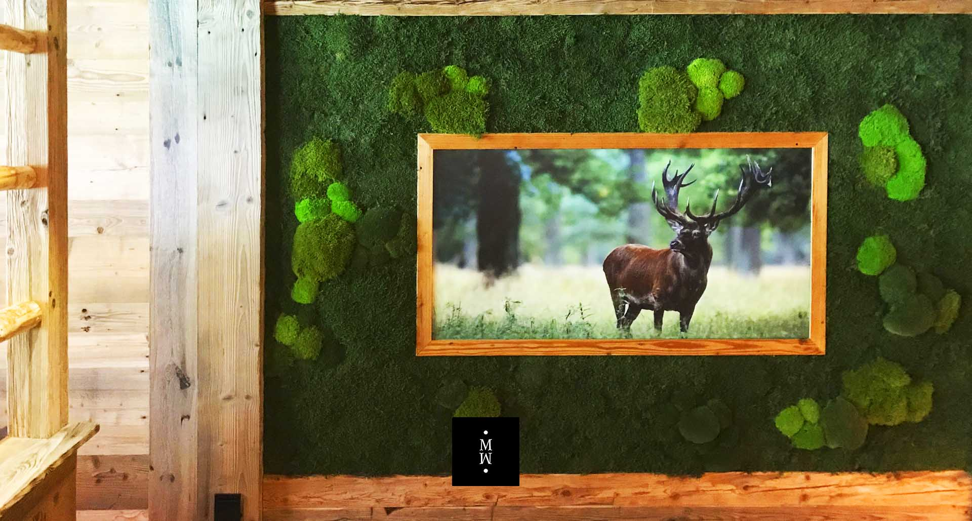 Framed picture with flat and bale moss