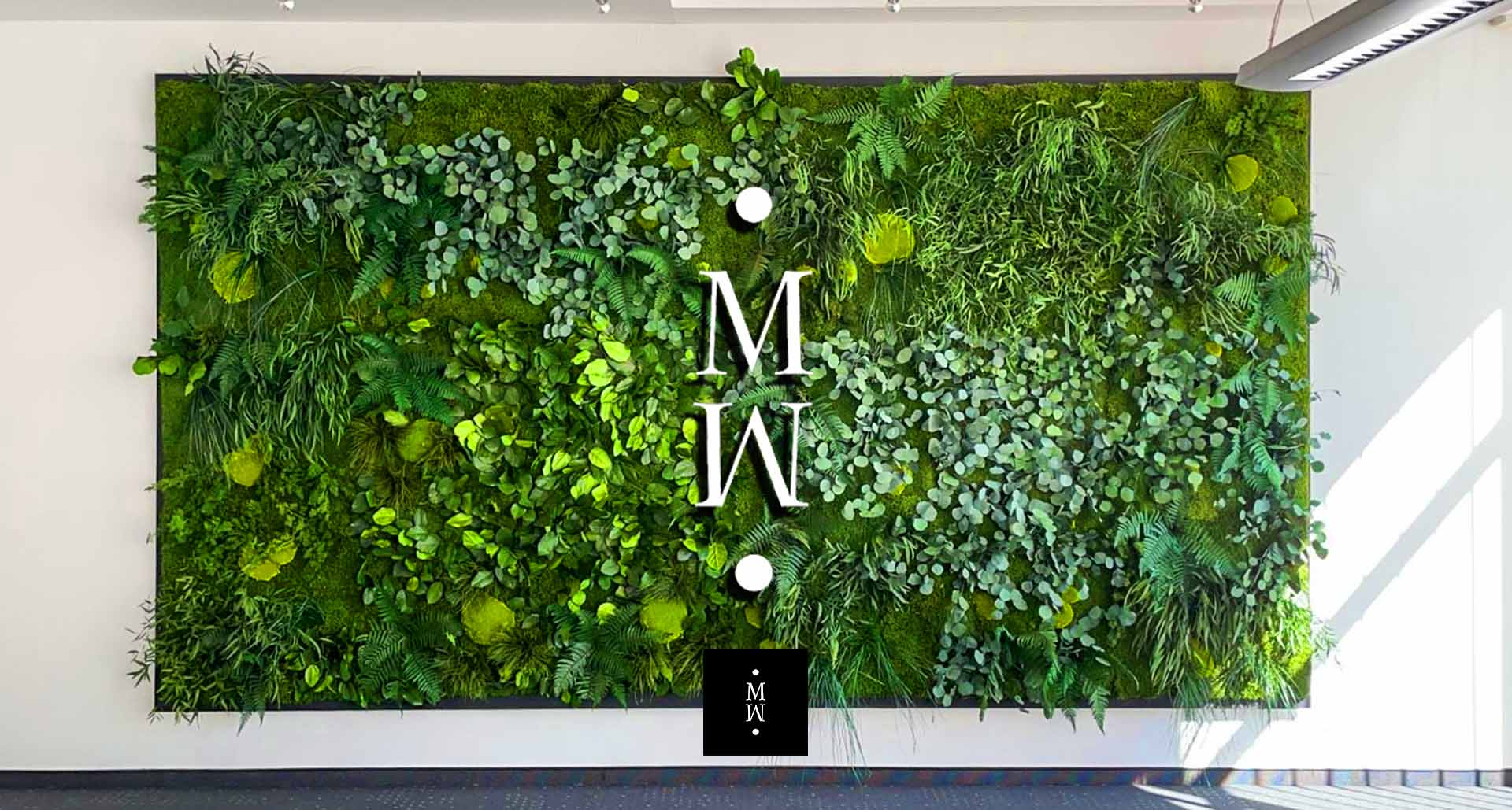 Jungle moss wall with logo MoosMoos in Dresden