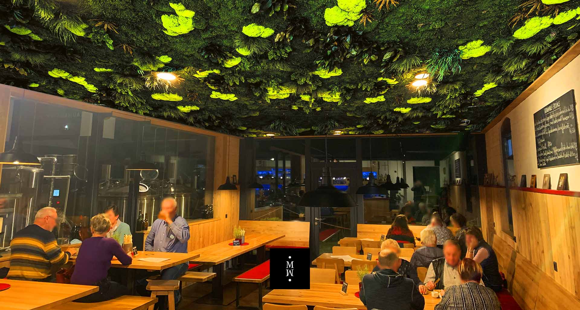 Dschungelmooswand Decke Restaurant in Sohland