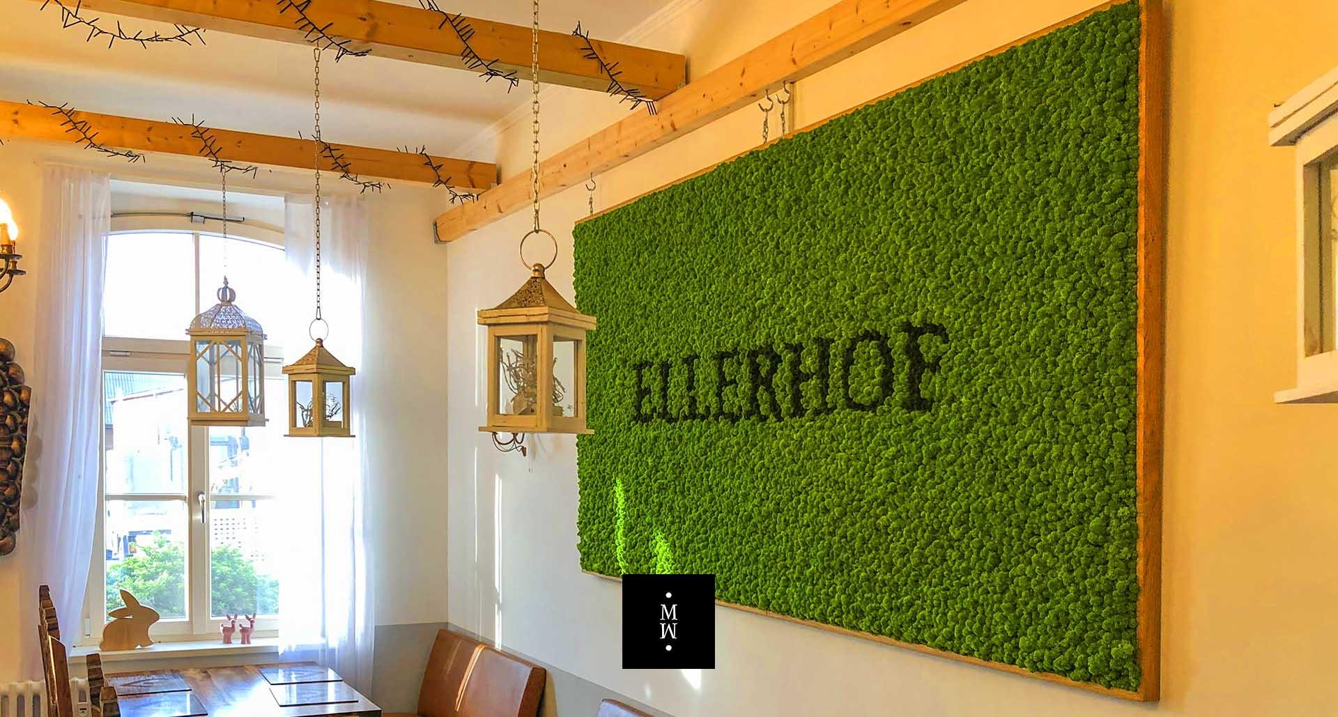Moosbild aus Islandmoos mit Logo Restaurant Ellerhof