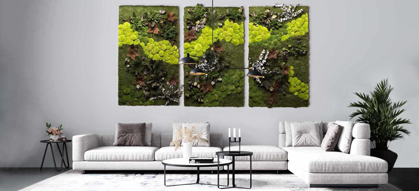 Modern loft living room with large moss picture Central park of different moss and plant species as a 3-piece combination